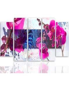 Composition de 5 tableaux ORCHIDÉE imprimé sur toile - par Feeby