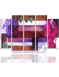 Composition de 5 tableaux DE LA DE L'ORCHIDÉE DES MARAIS imprimé sur toile - par Feeby