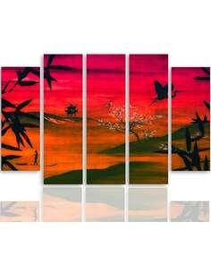 Composition de 5 tableaux PAYSAGE JAPON imprimé sur toile - par Feeby