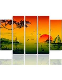 Composition de 5 tableaux LE JAPON PAYSAGE 2 imprimé sur toile - par Feeby