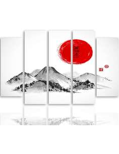 Composition de 5 tableaux LE JAPON PAYSAGE 3 imprimé sur toile - par Feeby