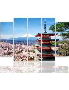 Composition de 5 tableaux LE JAPON PAYSAGE 7 imprimé sur toile - par Feeby