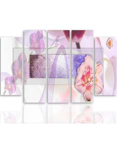 Composition de 5 tableaux FLORALE 1 imprimé sur toile - par Feeby