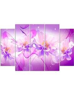 Composition de 5 tableaux FLEURS 2 GRAPHIQUES imprimé sur toile - par Feeby