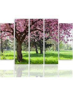 Composition de 5 tableaux ARBRE BLOOMING imprimé sur toile - par Feeby