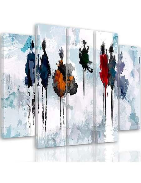 Composition De 5 Tableaux Arbre De Peinture Imprimé Sur Toile Feeby