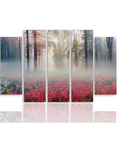Composition de 5 tableaux BRUME SUR LA CLAIRIÈRE imprimé sur toile - par Feeby