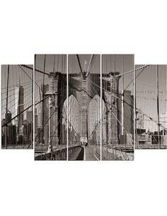 Composition de 5 tableaux BROOKLYN BRIDGE imprimé sur toile - par Feeby