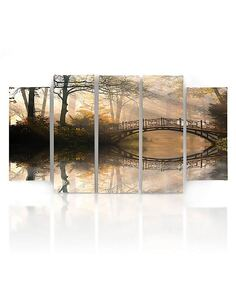 Composition de 5 tableaux PONT DANS LE PARC imprimé sur toile - par Feeby