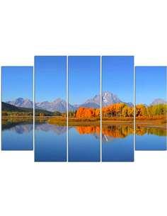 Composition de 5 tableaux GRAND TETON NATIONAL PARK imprimé sur toile - par Feeby