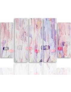 Composition de 5 tableaux 1 RÉSUMÉ PASTEL imprimé sur toile - par Feeby