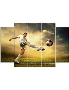 Composition de 5 tableaux TIR DE FOOTBALL VOLÉES imprimé sur toile - par Feeby