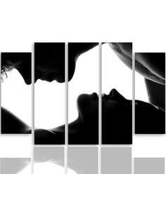 Composition de 5 tableaux KISS 2 imprimé sur toile - par Feeby