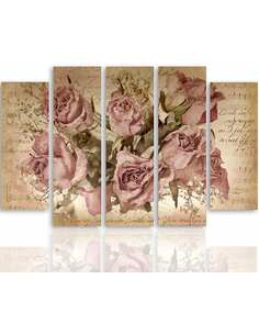 Composition de 5 tableaux ROSES SUR L'ARRIÈRE-PLAN DE LA NOTATION MUSICALE imprimé sur toile - par Feeby
