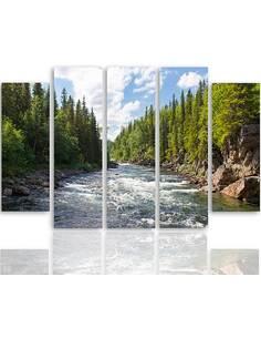 Composition de 5 tableaux RIVIÈRE EN FORÊT imprimé sur toile - par Feeby