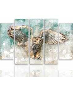 Composition de 5 tableaux HIBOU EN VOL imprimé sur toile - par Feeby