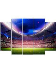 Composition de 5 tableaux DU STADE DE FOOTBALL imprimé sur toile - par Feeby