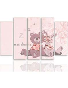Composition de 5 tableaux SWEET DREAMS 2 imprimé sur toile - par Feeby
