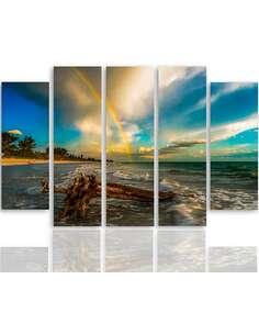 Composition de 5 tableaux DE ARC EN CIEL SUR LA PLAGE imprimé sur toile - par Feeby