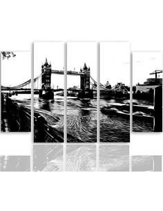 Composition de 5 tableaux TOWER BRIDGE imprimé sur toile - par Feeby