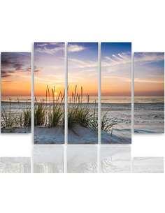 Composition de 5 tableaux DE L'HERBE SUR LA PLAGE imprimé sur toile - par Feeby