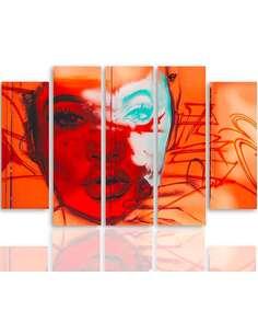Composition de 5 tableaux LE VISAGE D'UNE FEMME imprimé sur toile - par Feeby