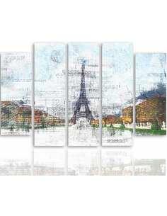 Composition de 5 tableaux TOUR EIFFEL 6 imprimé sur toile - par Feeby