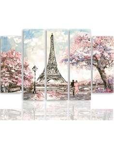Composition de 5 tableaux PRINTEMPS À PARIS imprimé sur toile - par Feeby