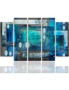 Composition de 5 tableaux INTÉRIEUR ABSTRAIT imprimé sur toile - par Feeby