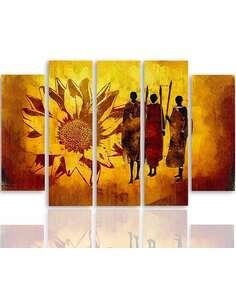 Composition de 5 tableaux GUERRIERS AFRICAINS imprimé sur toile - par Feeby