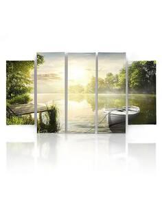 Composition de 5 tableaux EAST LAKE imprimé sur toile - par Feeby