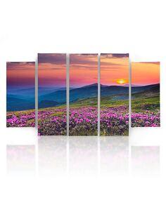 Composition de 5 tableaux SUNRISE imprimé sur toile - par Feeby