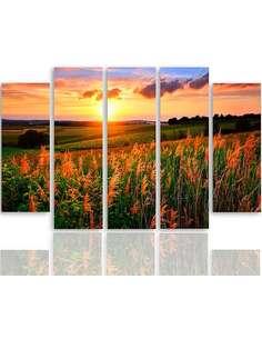 Composition de 5 tableaux COUCHER DE SOLEIL SUR LES CHAMPS imprimé sur toile - par Feeby
