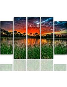 Composition de 5 tableaux COUCHER DE SOLEIL SUR L'EAU 3 imprimé sur toile - par Feeby