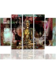 Composition de 5 tableaux GOLDEN BUDDHA 3 imprimé sur toile - par Feeby