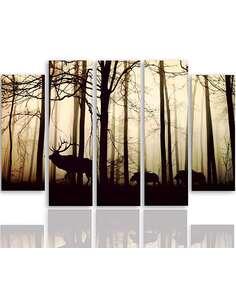 Composition de 5 tableaux ANIMAUX DANS LA FORÊT imprimé sur toile - par Feeby