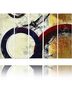 Composition de 5 tableaux ROUES ABSTRACTION imprimé sur toile - par Feeby