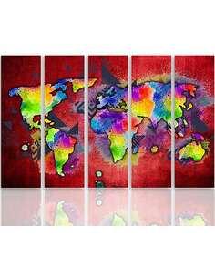 Composition de 5 tableaux CARTE COLORÉE DU MONDE imprimé sur toile - par Feeby