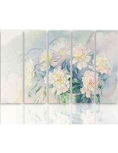 Composition de 5 tableaux LE FLEURS BLANCHES DANS UN POT imprimé sur toile - par Feeby