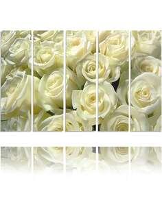 Composition de 5 tableaux ROSES BLANCHES imprimé sur toile - par Feeby