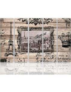 Composition de 5 tableaux BONJOUR PARIS imprimé sur toile - par Feeby