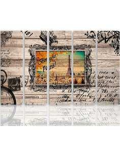 Composition de 5 tableaux BONJOUR PARIS 2 imprimé sur toile - par Feeby