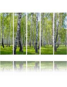 Composition de 5 tableaux BOULEAU imprimé sur toile - par Feeby
