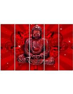 Composition de 5 tableaux LE BOUDDHA EN ROUGE imprimé sur toile - par Feeby