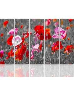 Composition de 5 tableaux COQUELICOTS ROUGES imprimé sur toile - par Feeby