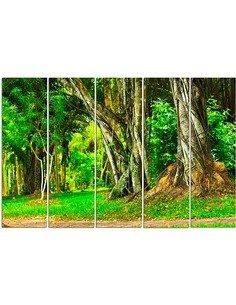 Composition de 5 tableaux ARBRES DANS LE PARC imprimé sur toile - par Feeby