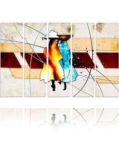 Composition de 5 tableaux DEUX CHIFFRES imprimé sur toile - par Feeby