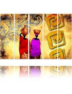 Composition de 5 tableaux DEUX FEMMES imprimé sur toile - par Feeby