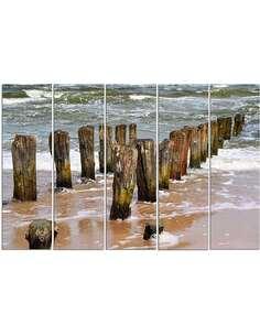 Composition de 5 tableaux LE DES BRISE-LAMES SUR LA PLAGE imprimé sur toile - par Feeby