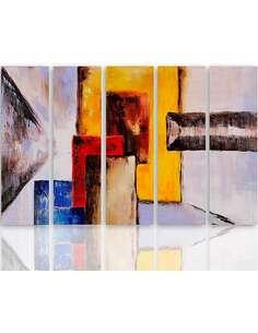 Composition de 5 tableaux CHIFFRES ABSTRACTION imprimé sur toile - par Feeby